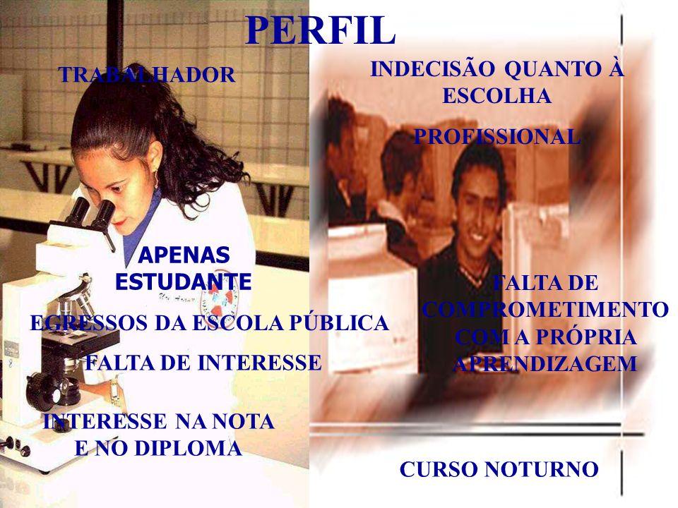 PERFIL HÁBITOS DE ESTUDO INSUFICIENTES DIFICULDADE NA INTERPRETAÇÃO, REDAÇÃO E LEITURA É UM SUJEITO REAL FALTA DE PRÉ- REQUISITOS PARA ACOMPANHAR A GRADUAÇÃO FALTA DE TEMPO PARA ESTUDAR FALTA DE INTERESSE FALTA DE MATURIDADE CONTRADIÇÃO VIVÊNCIA DE VALORES LIMITES CIVILIDADE EGRESSOS DOS CURSINHOS: ÊNFASE NA MEMORIZAÇÃO