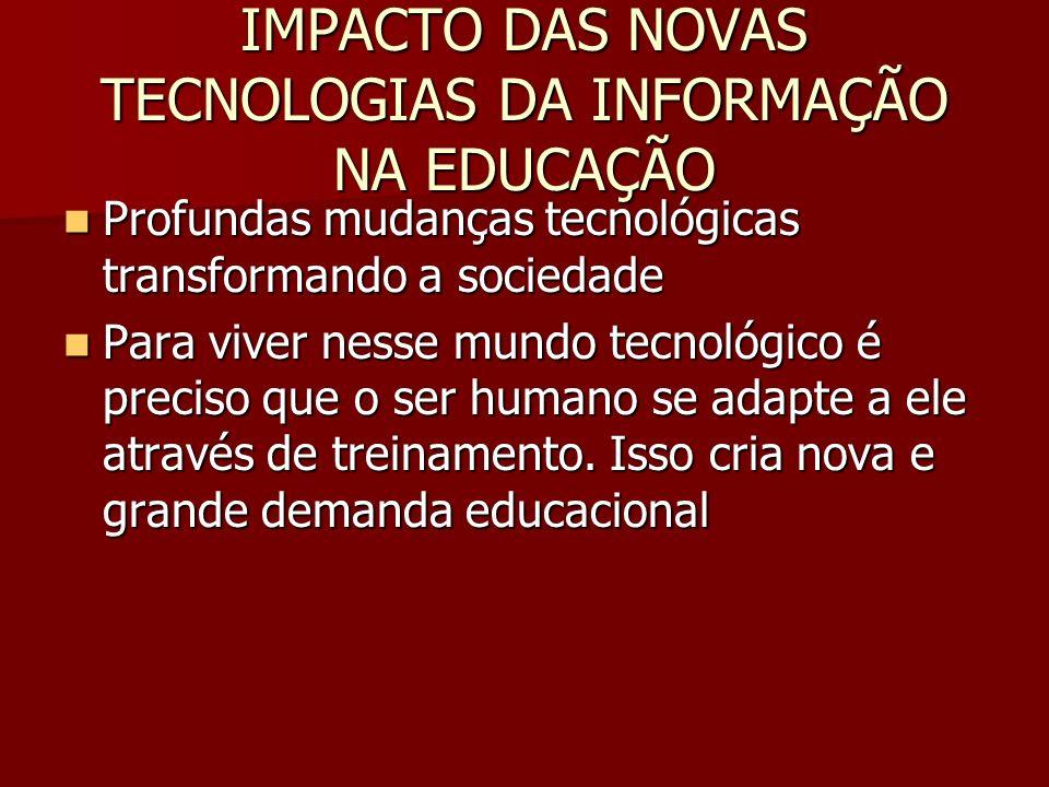 IMPACTO DAS NOVAS TECNOLOGIAS DA INFORMAÇÃO NA EDUCAÇÃO Profundas mudanças tecnológicas transformando a sociedade Profundas mudanças tecnológicas tran