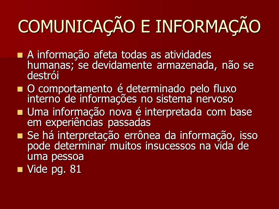 COMUNICAÇÃO E INFORMAÇÃO A informação afeta todas as atividades humanas; se devidamente armazenada, não se destrói A informação afeta todas as ativida