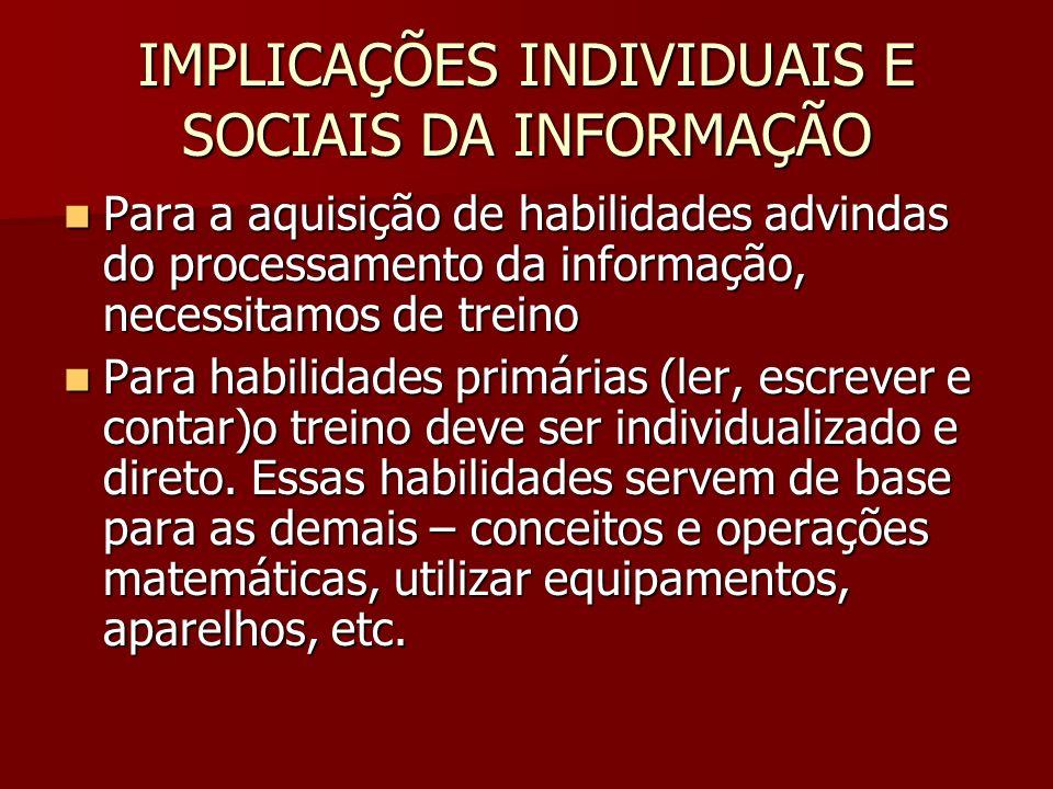 IMPLICAÇÕES INDIVIDUAIS E SOCIAIS DA INFORMAÇÃO Para a aquisição de habilidades advindas do processamento da informação, necessitamos de treino Para a