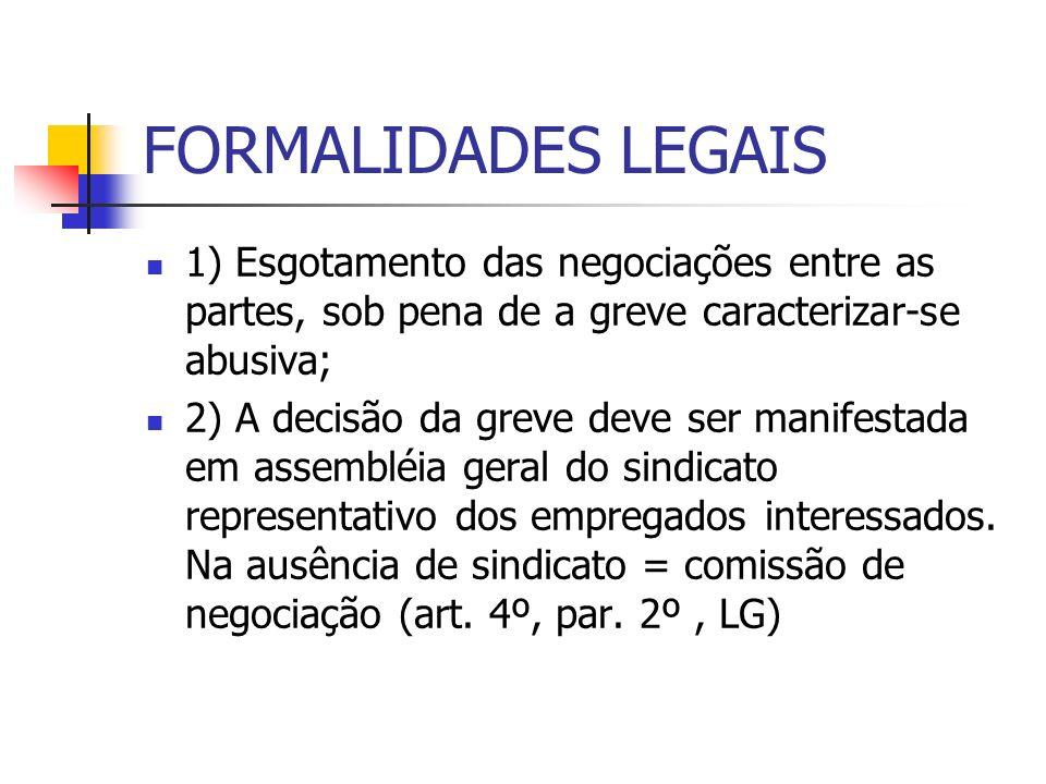 FORMALIDADES LEGAIS 1) Esgotamento das negociações entre as partes, sob pena de a greve caracterizar-se abusiva; 2) A decisão da greve deve ser manifestada em assembléia geral do sindicato representativo dos empregados interessados.