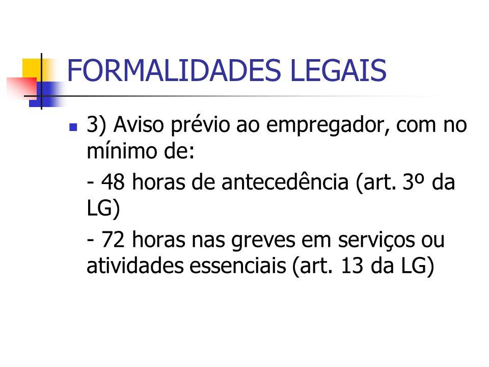 FORMALIDADES LEGAIS 3) Aviso prévio ao empregador, com no mínimo de: - 48 horas de antecedência (art. 3º da LG) - 72 horas nas greves em serviços ou a