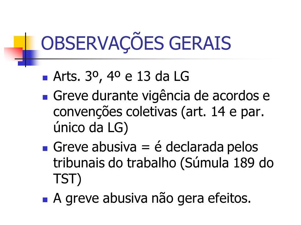 OBSERVAÇÕES GERAIS Arts. 3º, 4º e 13 da LG Greve durante vigência de acordos e convenções coletivas (art. 14 e par. único da LG) Greve abusiva = é dec