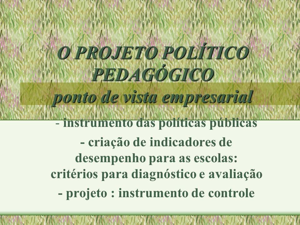 O PROJETO POLÍTICO PEDAGÓGICO ponto de vista empresarial - instrumento das políticas públicas - criação de indicadores de desempenho para as escolas: