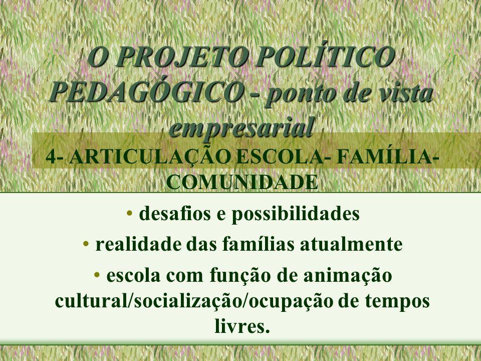 O PROJETO POLÍTICO PEDAGÓGICO - ponto de vista empresarial 4- ARTICULAÇÃO ESCOLA- FAMÍLIA- COMUNIDADE desafios e possibilidades realidade das famílias