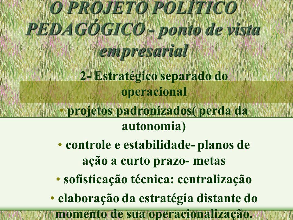 O PROJETO POLÍTICO PEDAGÓGICO - ponto de vista empresarial 2- Estratégico separado do operacional projetos padronizados( perda da autonomia) controle