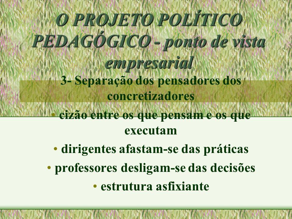 O PROJETO POLÍTICO PEDAGÓGICO - ponto de vista empresarial 3- Separação dos pensadores dos concretizadores cizão entre os que pensam e os que executam