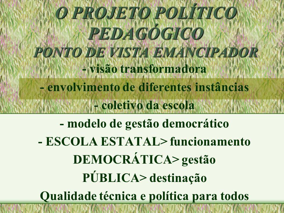 O PROJETO POLÍTICO PEDAGÓGICO ponto de vista emancipador 1- UNICIDADE TEORIA E PRÁTICA 2- AÇÃO CONSCIENTE E ORGANIZADA 3-PARTICIPAÇÃO EFETIVA DA COMUNIDADE ESCOLAR/REFLEXÃO COLETIVA 4- ARTICULAÇÃO DA ESCOLA, DA FAMÍLIA E DA COMUNIDADE