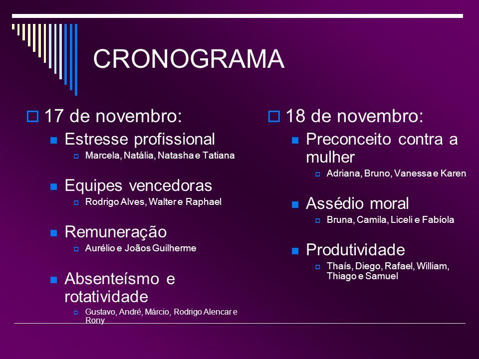 Últimas semanas 24 de novembro: revisão para a PROVA 25 de novembro: PROVA 1 de dezembro: Divulgação de notas e faltas 2 de dezembro: Encerramento do semestre letivo