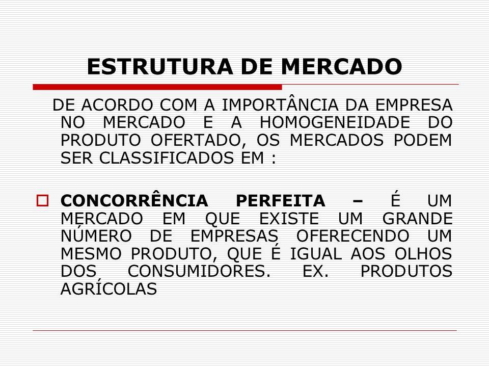 ESTRUTURA DE MERCADO DE ACORDO COM A IMPORTÂNCIA DA EMPRESA NO MERCADO E A HOMOGENEIDADE DO PRODUTO OFERTADO, OS MERCADOS PODEM SER CLASSIFICADOS EM :