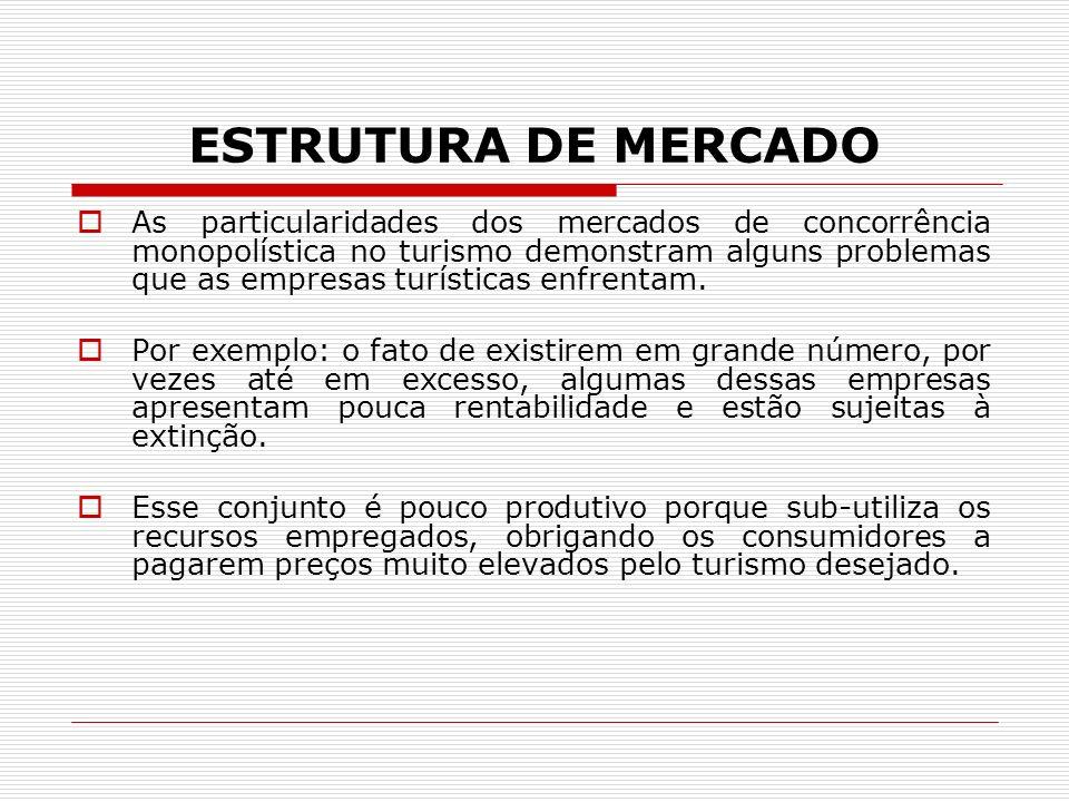 ESTRUTURA DE MERCADO As particularidades dos mercados de concorrência monopolística no turismo demonstram alguns problemas que as empresas turísticas