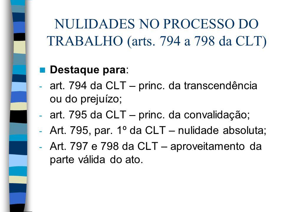 NULIDADES NO PROCESSO DO TRABALHO (arts. 794 a 798 da CLT) Destaque para: - art. 794 da CLT – princ. da transcendência ou do prejuízo; - art. 795 da C