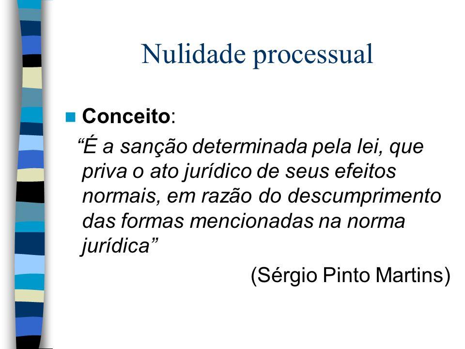 Nulidade processual Conceito: É a sanção determinada pela lei, que priva o ato jurídico de seus efeitos normais, em razão do descumprimento das formas