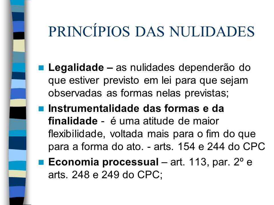 PRINCÍPIOS DAS NULIDADES Legalidade – as nulidades dependerão do que estiver previsto em lei para que sejam observadas as formas nelas previstas; Inst