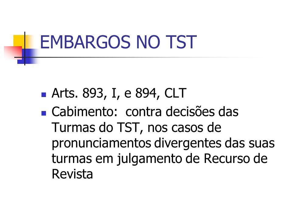 EMBARGOS NO TST Arts. 893, I, e 894, CLT Cabimento: contra decisões das Turmas do TST, nos casos de pronunciamentos divergentes das suas turmas em jul