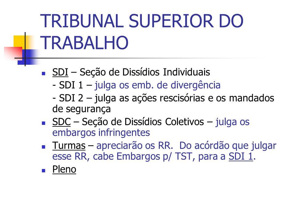 TRIBUNAL SUPERIOR DO TRABALHO SDI – Seção de Dissídios Individuais - SDI 1 – julga os emb. de divergência - SDI 2 – julga as ações rescisórias e os ma