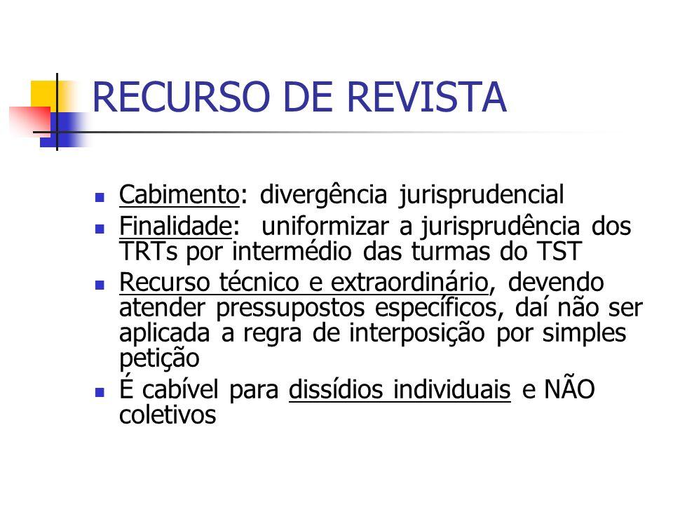 RECURSO DE REVISTA Cabimento: divergência jurisprudencial Finalidade: uniformizar a jurisprudência dos TRTs por intermédio das turmas do TST Recurso t