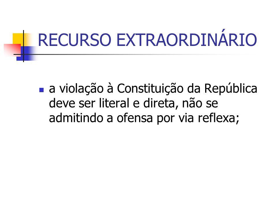 RECURSO EXTRAORDINÁRIO a violação à Constituição da República deve ser literal e direta, não se admitindo a ofensa por via reflexa;