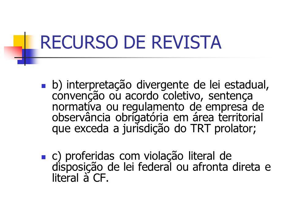 RECURSO DE REVISTA b) interpretação divergente de lei estadual, convenção ou acordo coletivo, sentença normativa ou regulamento de empresa de observân