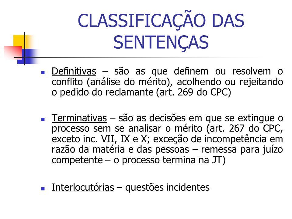 CLASSIFICAÇÃO DAS SENTENÇAS Definitivas – são as que definem ou resolvem o conflito (análise do mérito), acolhendo ou rejeitando o pedido do reclamant