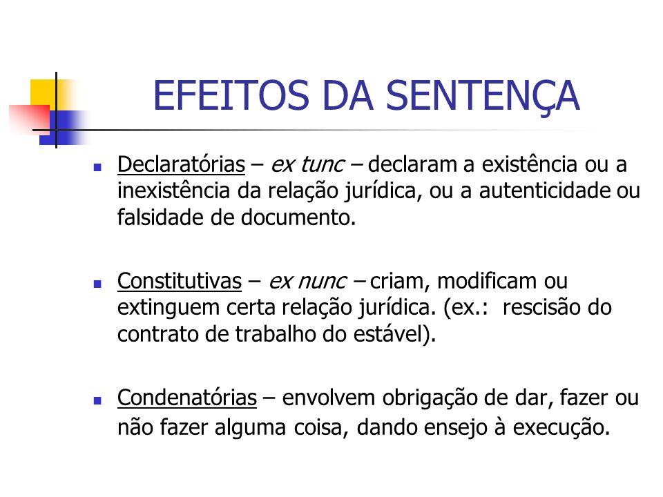 EFEITOS DA SENTENÇA Declaratórias – ex tunc – declaram a existência ou a inexistência da relação jurídica, ou a autenticidade ou falsidade de document