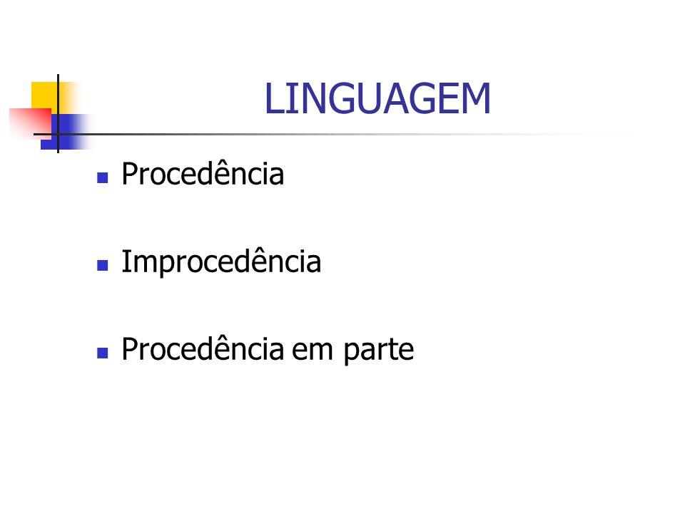 LINGUAGEM Procedência Improcedência Procedência em parte