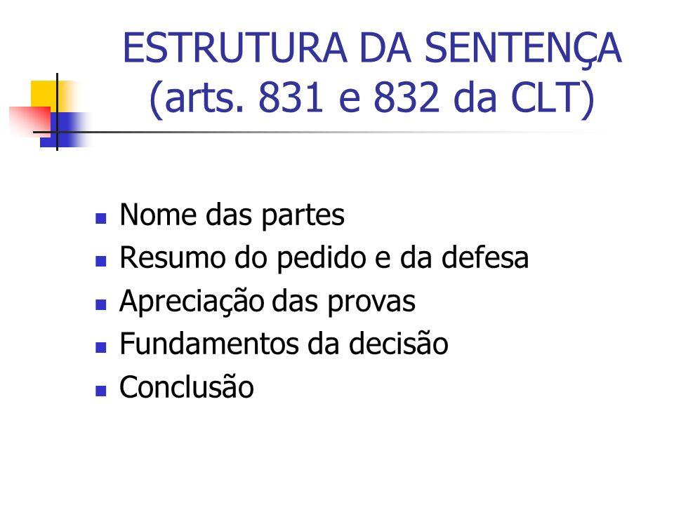 ESTRUTURA DA SENTENÇA (arts. 831 e 832 da CLT) Nome das partes Resumo do pedido e da defesa Apreciação das provas Fundamentos da decisão Conclusão