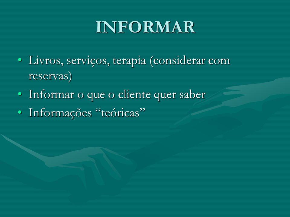 INFORMAR Livros, serviços, terapia (considerar com reservas)Livros, serviços, terapia (considerar com reservas) Informar o que o cliente quer saberInf