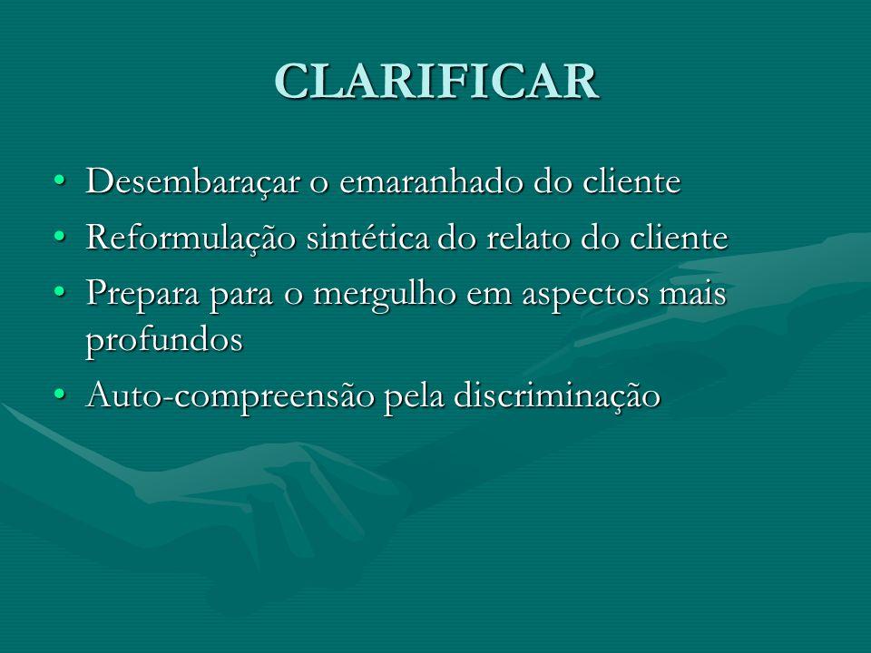 CLARIFICAR Desembaraçar o emaranhado do clienteDesembaraçar o emaranhado do cliente Reformulação sintética do relato do clienteReformulação sintética