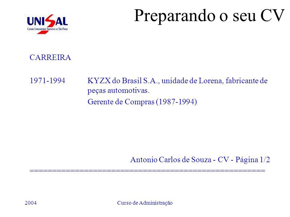 2004Curso de Administração Preparando o seu CV CARREIRA 1971-1994KYZX do Brasil S.A., unidade de Lorena, fabricante de peças automotivas. Gerente de C