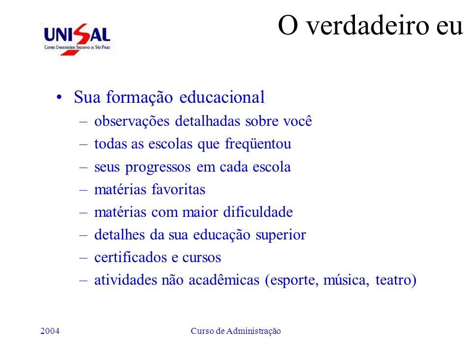2004Curso de Administração O verdadeiro eu Sua formação educacional –observações detalhadas sobre você –todas as escolas que freqüentou –seus progress