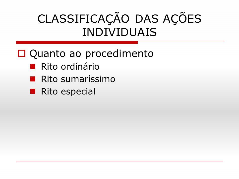 CLASSIFICAÇÃO DAS AÇÕES INDIVIDUAIS Quanto ao procedimento Rito ordinário Rito sumaríssimo Rito especial