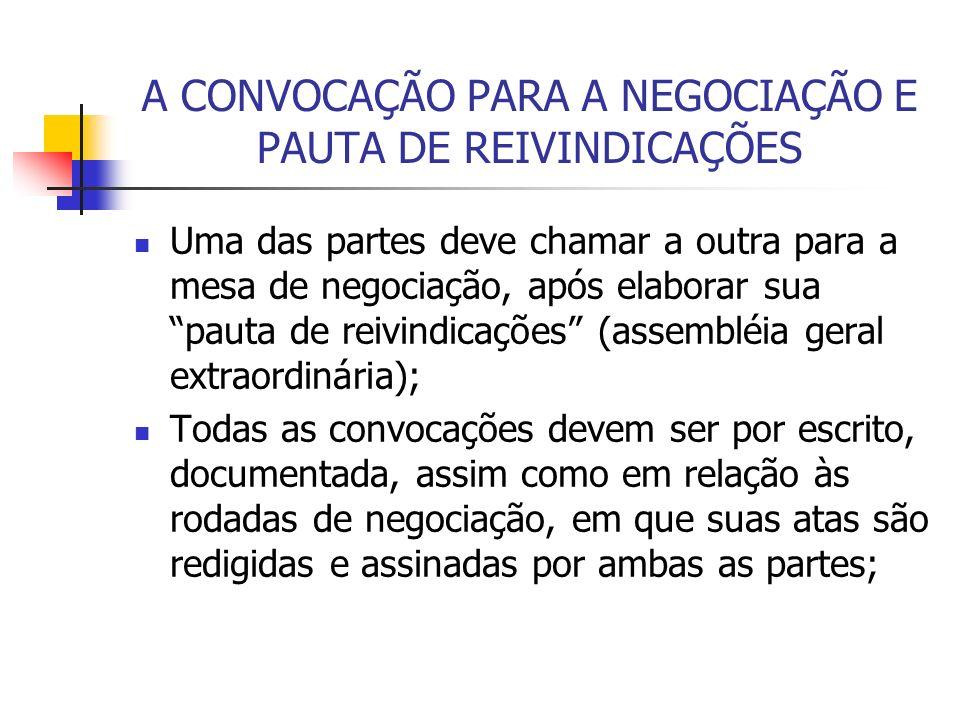 A CONVOCAÇÃO PARA A NEGOCIAÇÃO E PAUTA DE REIVINDICAÇÕES Uma das partes deve chamar a outra para a mesa de negociação, após elaborar sua pauta de reiv