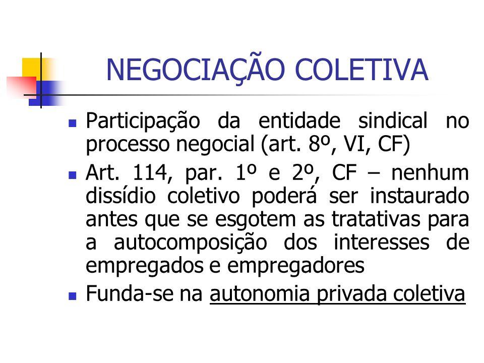 NEGOCIAÇÃO COLETIVA Participação da entidade sindical no processo negocial (art. 8º, VI, CF) Art. 114, par. 1º e 2º, CF – nenhum dissídio coletivo pod