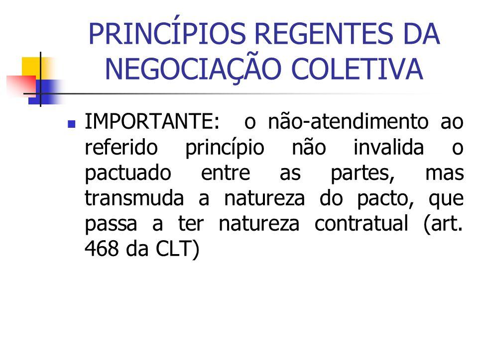 PRINCÍPIOS REGENTES DA NEGOCIAÇÃO COLETIVA IMPORTANTE: o não-atendimento ao referido princípio não invalida o pactuado entre as partes, mas transmuda