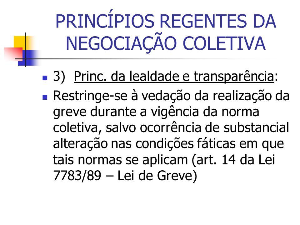 PRINCÍPIOS REGENTES DA NEGOCIAÇÃO COLETIVA 3) Princ. da lealdade e transparência: Restringe-se à vedação da realização da greve durante a vigência da