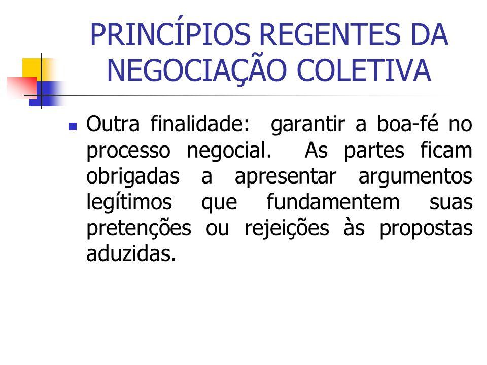 PRINCÍPIOS REGENTES DA NEGOCIAÇÃO COLETIVA Outra finalidade: garantir a boa-fé no processo negocial. As partes ficam obrigadas a apresentar argumentos
