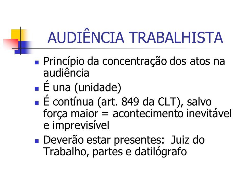AUDIÊNCIA TRABALHISTA Princípio da concentração dos atos na audiência É una (unidade) É contínua (art. 849 da CLT), salvo força maior = acontecimento