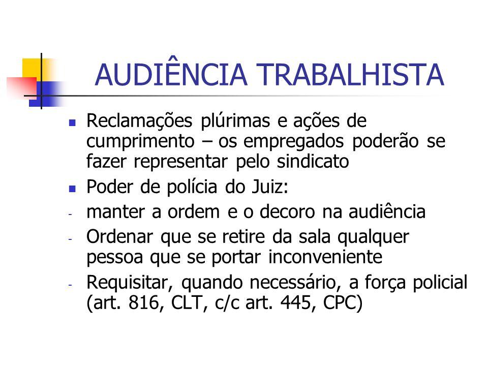 AUDIÊNCIA TRABALHISTA conciliação Defesa 20 min Dep.