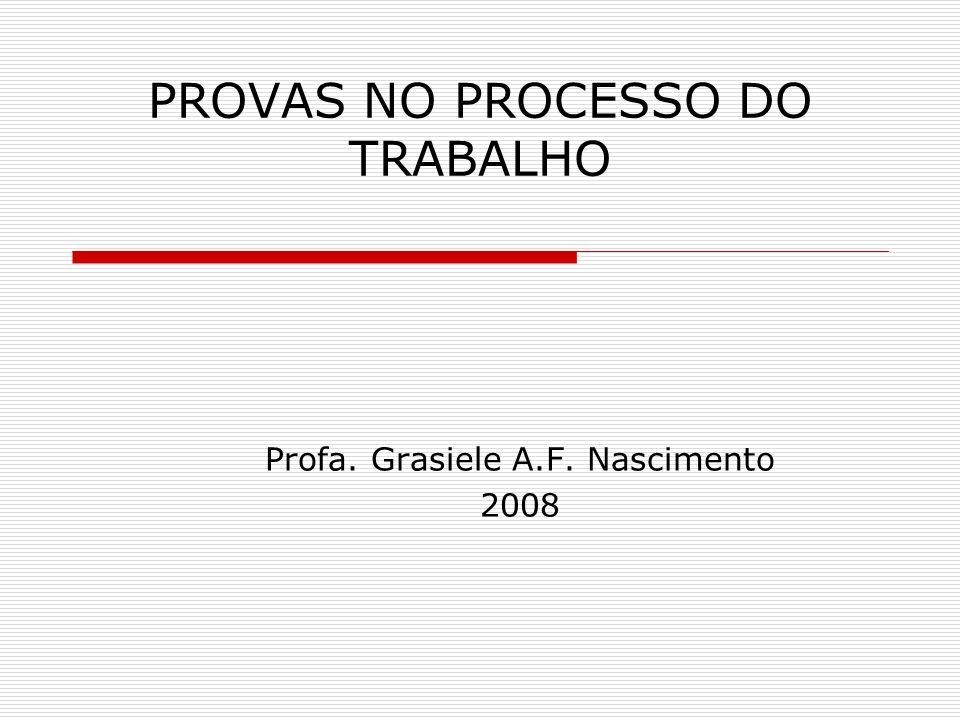 PROVAS NO PROCESSO DO TRABALHO Profa. Grasiele A.F. Nascimento 2008