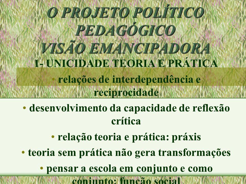 O PROJETO POLÍTICO PEDAGÓGICO VISÃO EMANCIPADORA 1- UNICIDADE TEORIA E PRÁTICA relações de interdependência e reciprocidade desenvolvimento da capacid