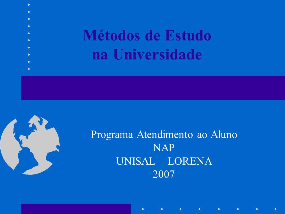 Métodos de Estudo na Universidade Programa Atendimento ao Aluno NAP UNISAL – LORENA 2007