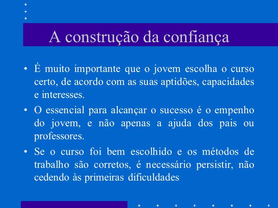 A construção da confiança É muito importante que o jovem escolha o curso certo, de acordo com as suas aptidões, capacidades e interesses. O essencial