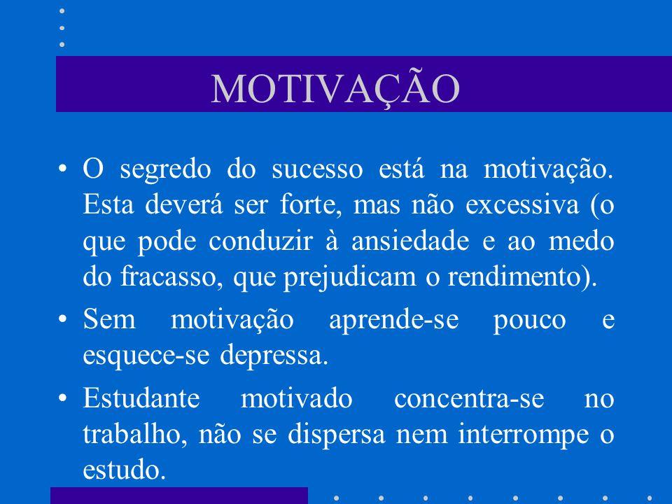 MOTIVAÇÃO O segredo do sucesso está na motivação. Esta deverá ser forte, mas não excessiva (o que pode conduzir à ansiedade e ao medo do fracasso, que