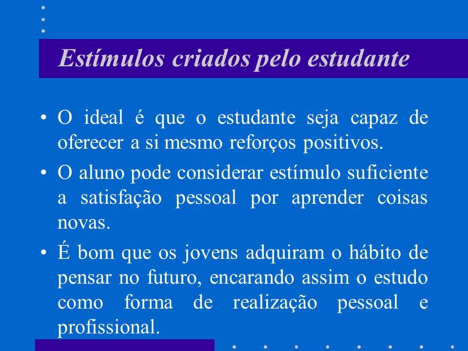 Estímulos criados pelo estudante O ideal é que o estudante seja capaz de oferecer a si mesmo reforços positivos. O aluno pode considerar estímulo sufi