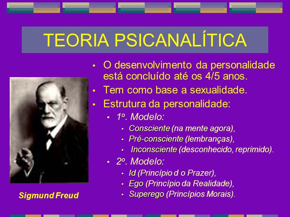 TEORIA PSICANALÍTICA O desenvolvimento da personalidade está concluído até os 4/5 anos. Tem como base a sexualidade. Estrutura da personalidade: 1 o.