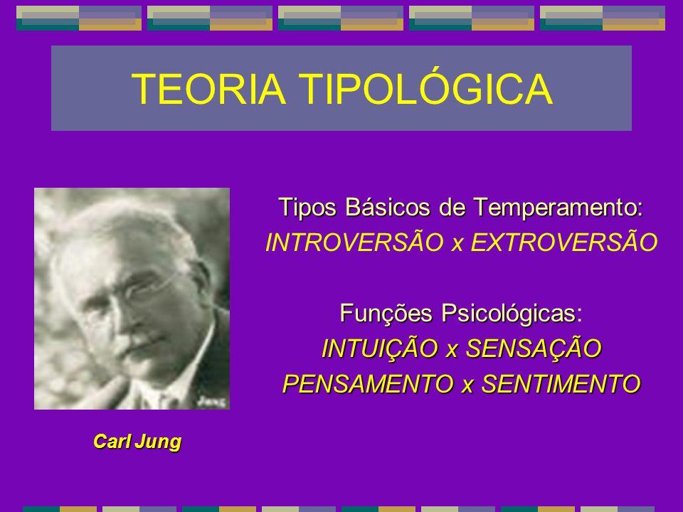 TEORIA TIPOLÓGICA Tipos Básicos de Temperamento: INTROVERSÃO x EXTROVERSÃO Funções Psicológicas Funções Psicológicas: INTUIÇÃO x SENSAÇÃO PENSAMENTO x