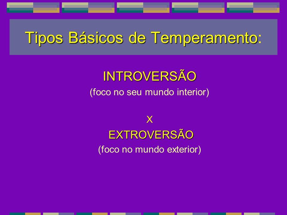 Tipos Básicos de Temperamento Tipos Básicos de Temperamento: INTROVERSÃO (foco no seu mundo interior) X EXTROVERSÃO EXTROVERSÃO (foco no mundo exterio