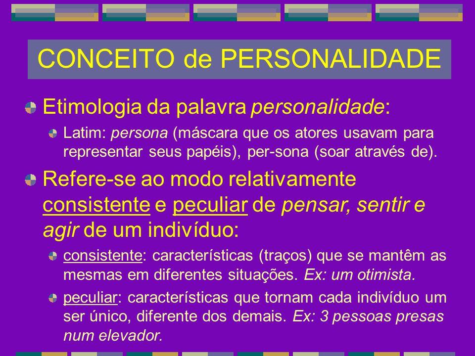 CONCEITO de PERSONALIDADE Etimologia da palavra personalidade: Latim: persona (máscara que os atores usavam para representar seus papéis), per-sona (s