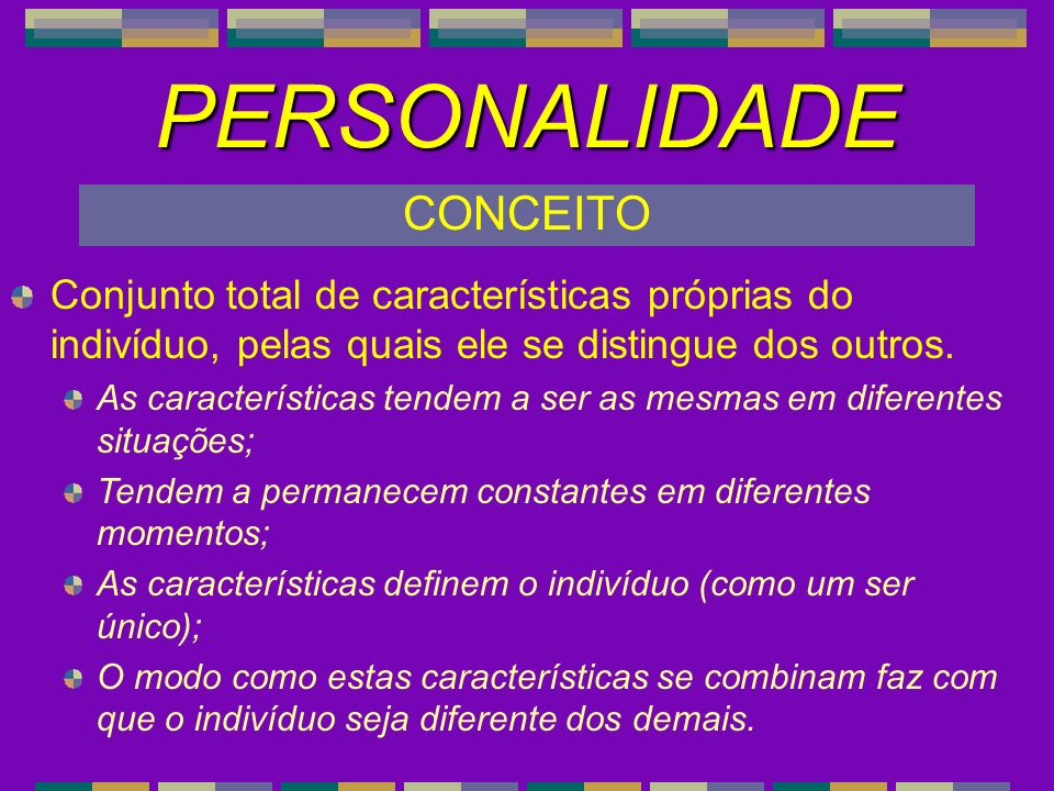 NEUROTICISMO 1) Tranqüilo(a)Ansioso(a) 1) Tranqüilo(a)–Ansioso(a) 6) Seguro(a) Inseguro(a) 6) Seguro(a) – Inseguro(a) 11) Calmo(a) - Nervoso(a) 16) EstávelTemperamental 16) Estável - TemperamentalEXTROVERSÃO 2) Retraído(a) Sociável 2) Retraído(a) – Sociável 7) Quieto(a) Falante 7) Quieto(a) – Falante 12) Inibido(a)- Espontâneo(a) 12) Inibido(a) - Espontâneo(a) 17) Desanimado(a)Animado(a) 17) Desanimado(a) - Animado(a) INTERPRETAÇÃO Cada um dos 5 fatores é composto, neste exemplo, por 4 itens, conforme apresentado nos 2 quadros abaixo e nos 3 quadros do próximo slide.